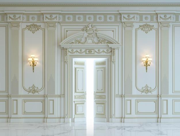 Białe panele ścienne w stylu klasycznym ze złoceniem. renderowania 3d