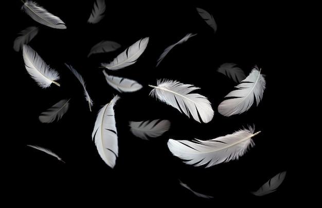 Białe pióra unoszące się w ciemności.