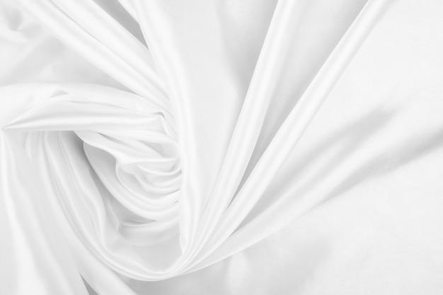 Białe Płótno Streszczenie Tło Z Miękkimi Falami, Zbliżenie Tekstury Tkaniny Premium Zdjęcia