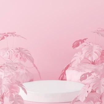 Białe podium cylindryczne do pokazania produktu z różem
