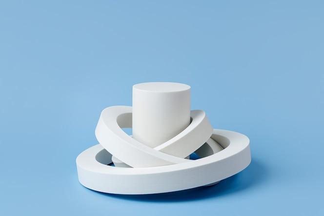 Białe podium do pokazania produktów kosmetycznych z geometrycznymi formami na niebieskim tle