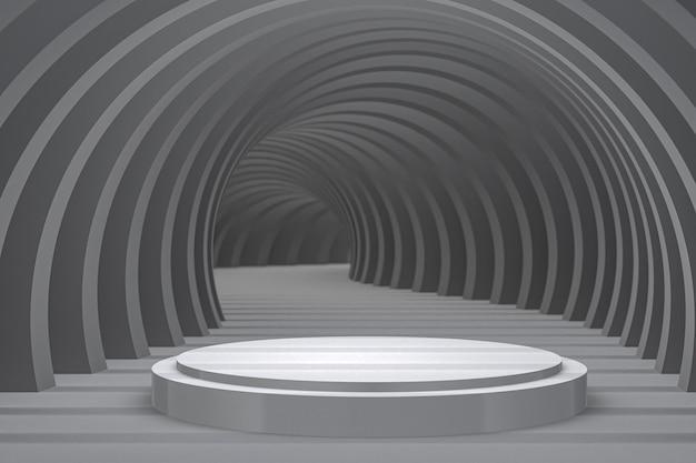 Białe podium minimalne abstrakcyjne tło do prezentacji produktów kosmetycznych lub wystawowych