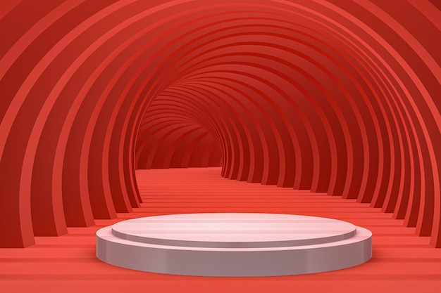 Białe podium minimalne streszczenie do prezentacji produktów kosmetycznych lub ekspozycyjnych