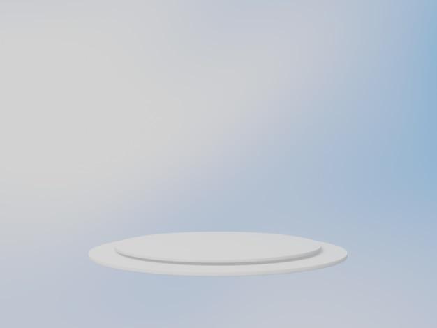 Białe podium na tle nieba. renderowanie 3d.