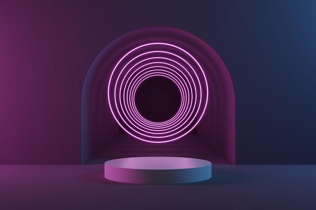 Białe podium w kształcie cylindra i różowy pierścień świetlny na szarym tle tunelu z niebieskim i różowym oświetleniem.