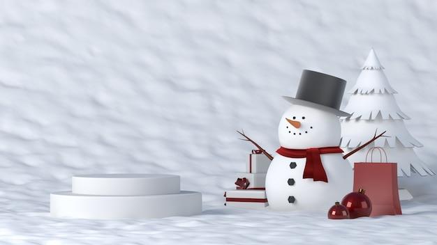 Białe podium zimą z dekoracjami świątecznymi