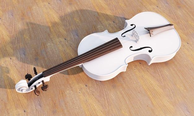 Białe polerowane skrzypce na tle. renderowanie 3d