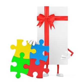 Białe pudełko i czerwona wstążka charakter maskotka osoba z czterema kawałkami kolorowej układanki na białym tle. renderowanie 3d