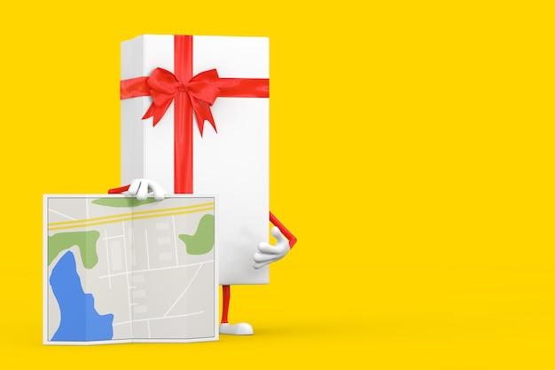 Białe pudełko i czerwona wstążka charakter maskotka z abstrakcyjną mapą planu na żółtym tle. renderowanie 3d