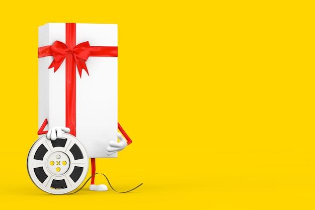 Białe pudełko i czerwona wstążka charakter maskotka z czerwoną szpilką docelową wskaźnika mapy na żółtym tle. renderowanie 3d