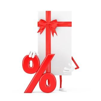 Białe pudełko i czerwoną wstążką charakter maskotka z czerwonym procent sprzedaży detalicznej lub znak rabatu na białym tle. renderowanie 3d