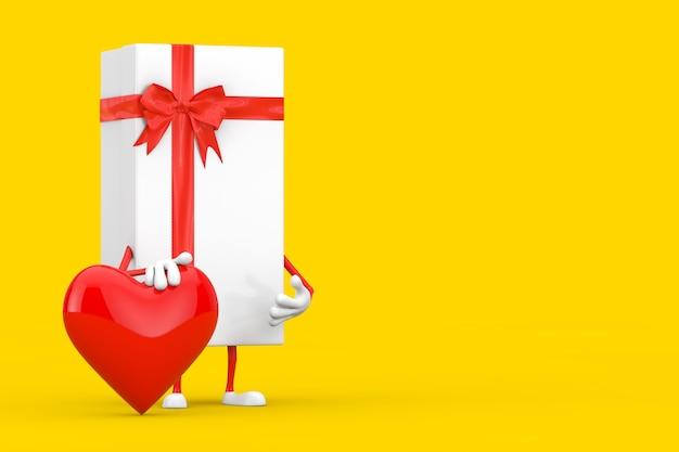 Białe pudełko i czerwona wstążka charakter maskotka z czerwonym sercem na żółtym tle. renderowanie 3d
