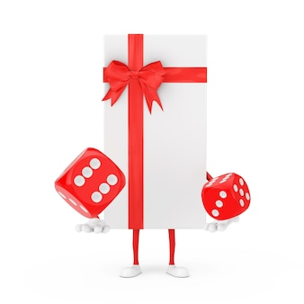 Białe pudełko i czerwona wstążka charakter maskotka z czerwonymi kostkami do gry w locie na białym tle. renderowanie 3d