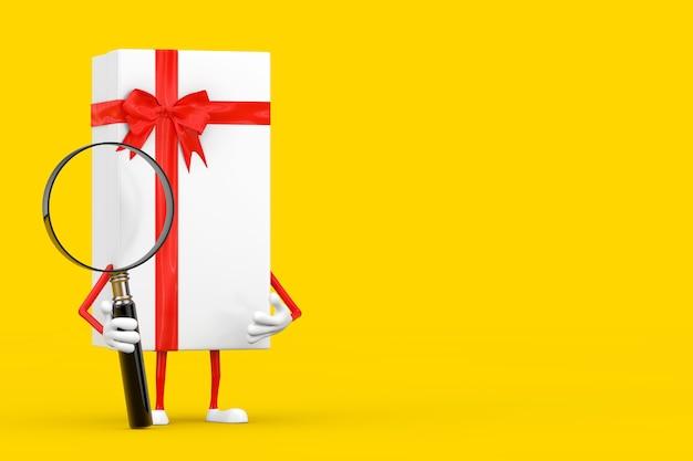 Białe pudełko i czerwona wstążka charakter maskotka z lupą na żółtym tle. renderowanie 3d