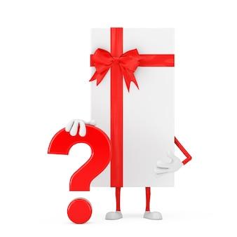 Białe pudełko i czerwona wstążka osoba charakter maskotka z czerwonym znakiem zapytania znak na białym tle. renderowanie 3d
