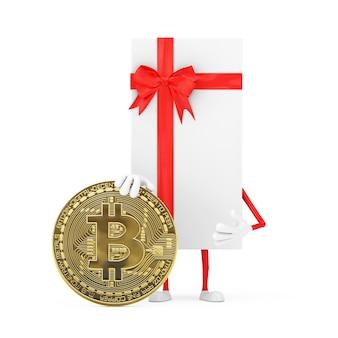 Białe pudełko i maskotka postaci z czerwoną wstążką z cyfrową i kryptowalutową złotą monetą bitcoin na białym tle. renderowanie 3d