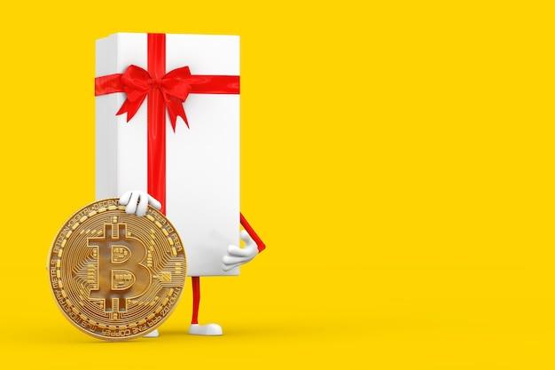 Białe pudełko i maskotka postaci z czerwoną wstążką z cyfrową i kryptowalutową złotą monetą bitcoin na żółtym tle. renderowanie 3d