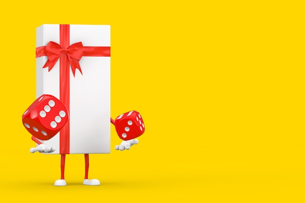 Białe pudełko i maskotka postaci z czerwoną wstążką z czerwonymi kostkami do gry w locie na żółtym tle. renderowanie 3d