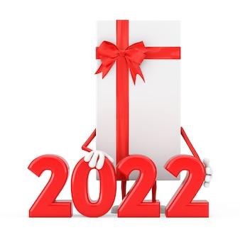 Białe pudełko i maskotka postaci z czerwoną wstążką ze znakiem nowego roku 2022 na białym tle. renderowanie 3d