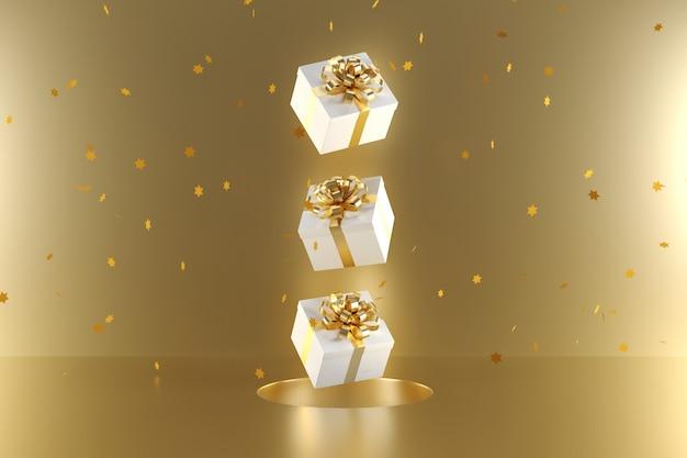Białe pudełko ozdobne w złotym kolorze wstążki unoszące się na złotym tle