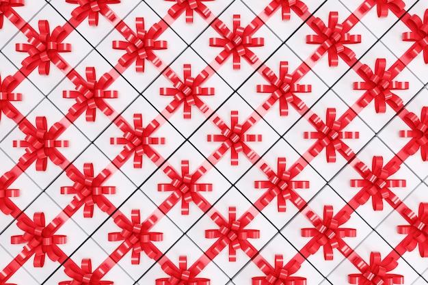 Białe pudełko z czerwoną wstążką w widoku z góry. renderowanie 3d. świąteczny pomysł koncepcji.