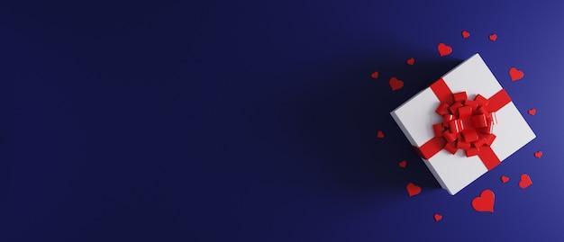 Białe pudełko z kokardą z czerwoną wstążką na niebieskim tle z konfetti serca. prezent gwiazdkowy