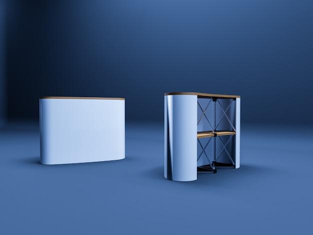 Białe puste puste wysokiej rozdzielczości biznes roll up tabeli 3d realistyczne renderowanie