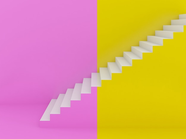 Białe schody w kolorowe tło, renderowania 3d