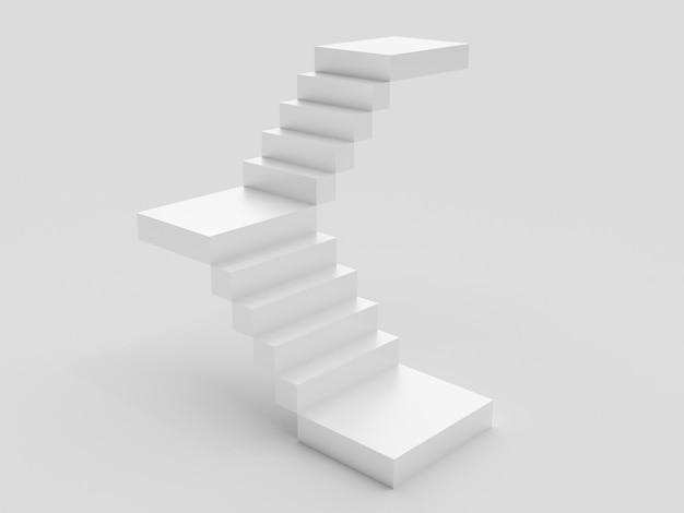 Białe schody ze stopniami