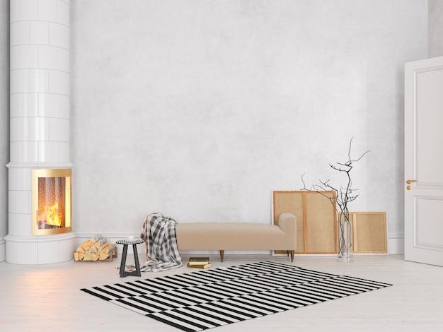 Białe, skandynawskie, klasyczne wnętrze z kanapą, piecem, kominkiem, dywan. 3d render ilustracji makiety