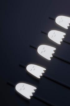 Białe słomki z duchami ustawione na czarnym tle zasobów projektowych
