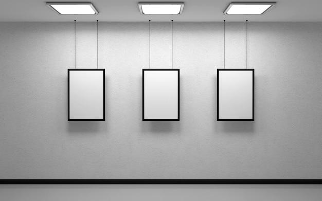 Białe studio i trzy zdjęcia na białym tle