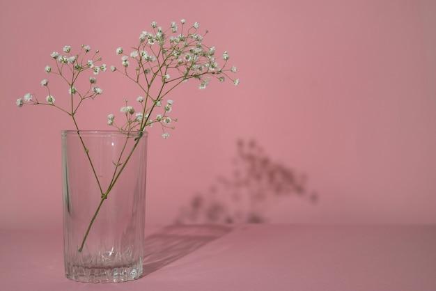 Białe suszone kwiaty na szklanym wazonie