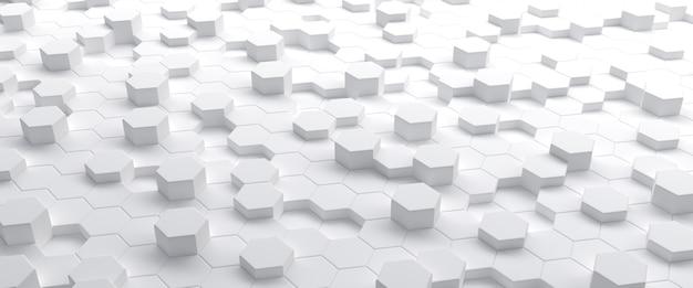 Białe sześciokąty streszczenie geometryczna ilustracja 3d