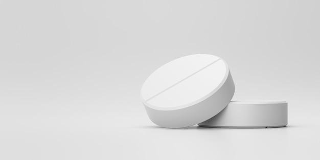 Białe tabletki lub środki przeciwbólowe z apteką na tle medycznym. białe tabletki na złagodzenie choroby lub gorączki. renderowanie 3d.