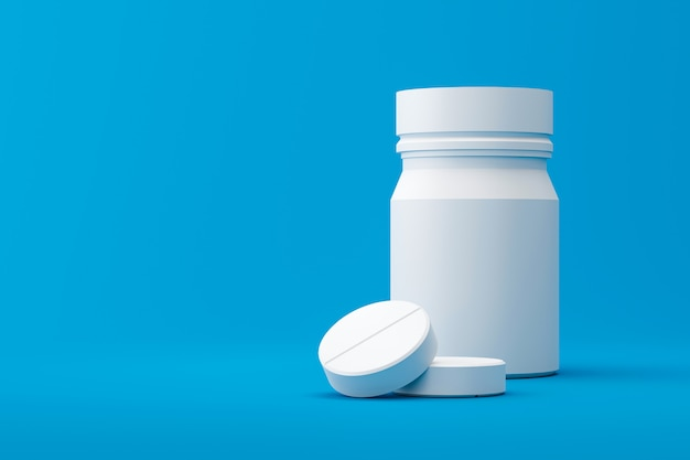 Białe tabletki lub środki przeciwbólowe z butelką apteki na tle medycznym. białe tabletki na złagodzenie choroby lub gorączki. renderowanie 3d.