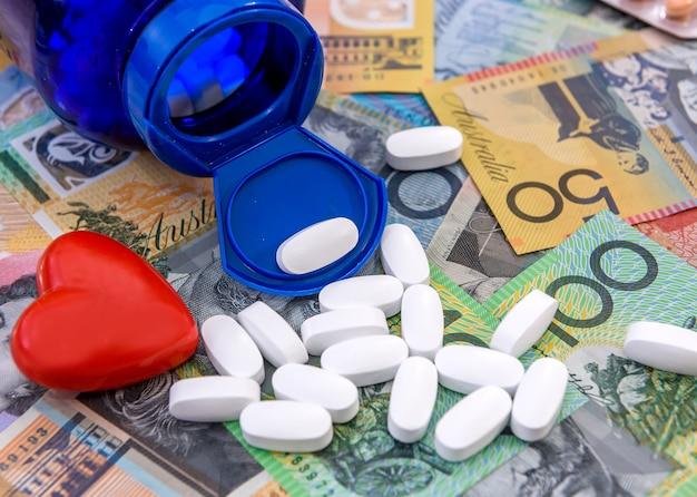 Białe tabletki na kolorowe dolary australijskie