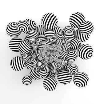 Białe tło abstrakcyjne z kulkami i czarne linie. renderowanie 3d.