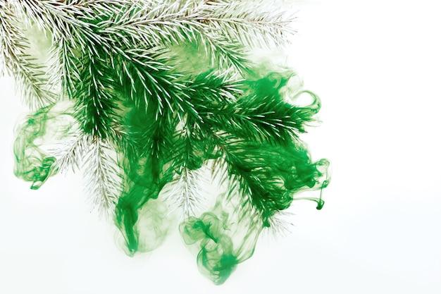 Białe tło akrylowe wewnątrz gałęzi wodnej zielona choinka zima