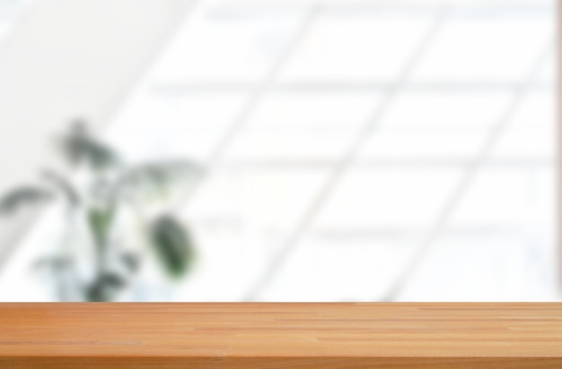 Białe tło przestrzeni biurowej z wyświetlaczem produktów z drewnianej płyty