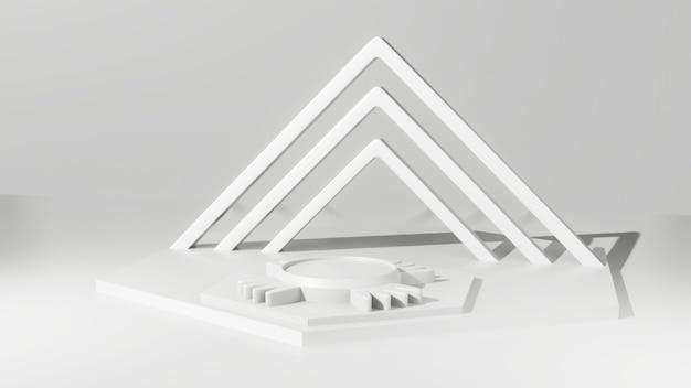 Białe tło renderowania 3d z białym cokołem i abstrakcyjnym tle sceny ściany platforma geometry awards na nowoczesnej stronie internetowej.
