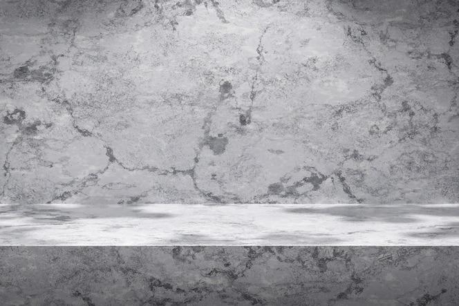 Białe tło sceny i marmurowy wyświetlacz produktu na szarym tle ze słonecznym światłem studio. Pusty cokół lub platforma podium. Renderowanie 3D.