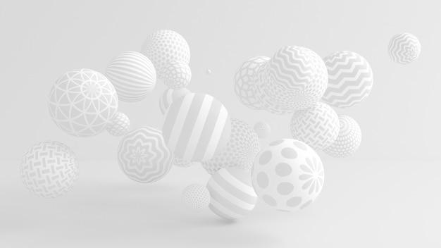 Białe tło z kulkami. ilustracja, renderowanie 3d.