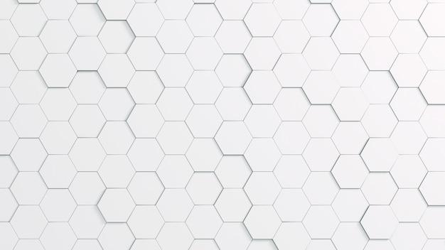 Białe tło z sześciokątnymi kształtami
