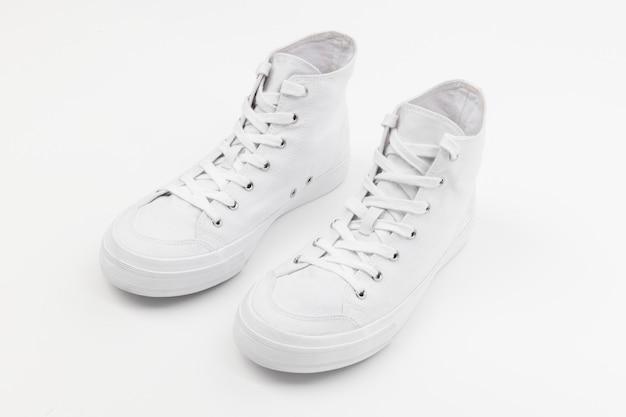 Białe trampki za kostkę unisex obuwie moda