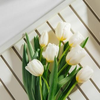 Białe tulipany na białym tle z porannym światłem słonecznym. stylowe kompozycje stylu życia.