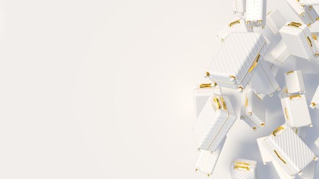 Białe walizki ze złotymi elementami na białym tle z nieostrością