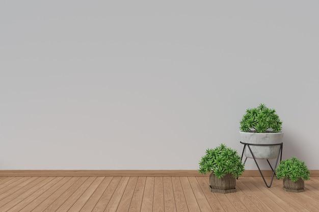 Białe wnętrza z roślinami na podłodze
