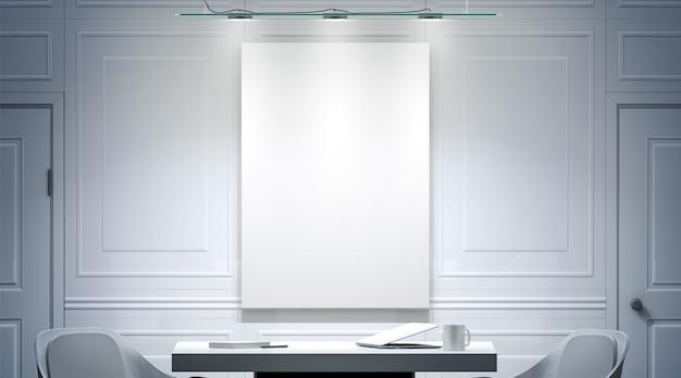 Białe wnętrze biura z pustą makietą plakatu na ścianie