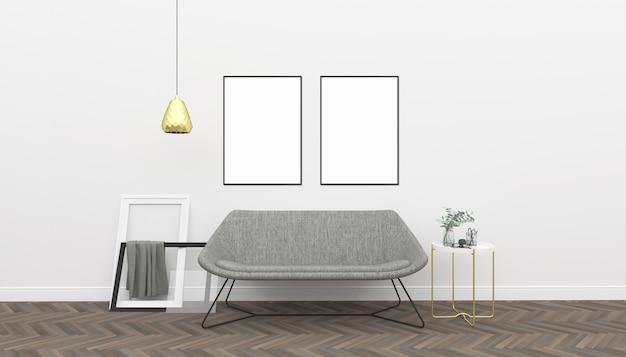 Białe wnętrze - makieta podwójnych ramek
